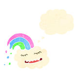 Retro cartoon happy rainbow cloud Royalty Free Stock Images