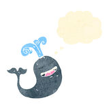 Retro cartoon happy whale. Retro cartoon with texture. Isolated on White Stock Photos