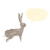Retro cartoon hare with speech bubble Royalty Free Stock Photography