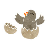 retro cartoon hatching bird Stock Image