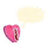 Retro cartoon heart shouting Stock Images