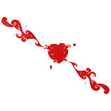 Retro cartoon heart squirting blood Stock Images