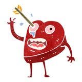 Retro cartoon heart struck by arrow. Retro cartoon illustration. On plain white background Royalty Free Stock Image