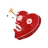 Retro cartoon heart struck by arrow Royalty Free Stock Photography