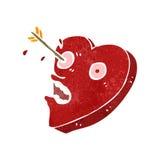 Retro cartoon heart struck by arrow. Retro cartoon illustration. On plain white background Royalty Free Stock Photography