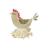 Retro cartoon hen roosting on eggs Stock Photo