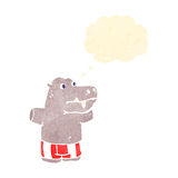 Retro cartoon hippopotamus in boxer shorts Stock Image