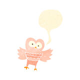 Retro cartoon hooting owl Stock Images