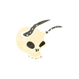 Retro cartoon horned skull Stock Images