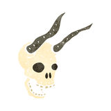 Retro cartoon horned skull Royalty Free Stock Image