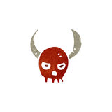 Retro cartoon horned skull symbol Stock Photography