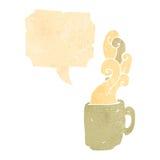 retro cartoon hot cup of coffee symbol Stock Photos