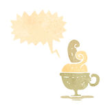 Retro cartoon hot cup of coffee symbol Royalty Free Stock Photography