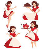 Retro cartoon housewife Royalty Free Stock Photo