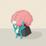 Retro cartoon of a human brain Stock Photos