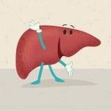 Retro cartoon of a human liver Stock Photo