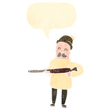 Retro cartoon hunter with rifle and speech bubble Royalty Free Stock Images