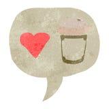 Retro cartoon I love coffee symbol Stock Photography