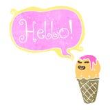 Retro cartoon ice cream cone Royalty Free Stock Images