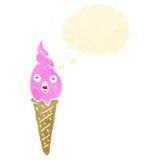 Retro cartoon ice cream cone Stock Images