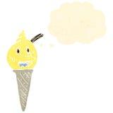 Retro cartoon ice cream cone character Stock Images