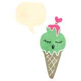 Retro cartoon ice cream cone character with speech bubble Stock Photos