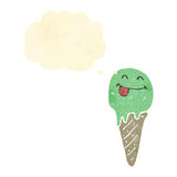 Retro cartoon ice cream cone character with thought bubble Royalty Free Stock Image