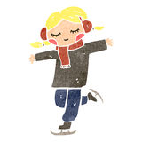 Retro cartoon ice skating blond girl Royalty Free Stock Photography