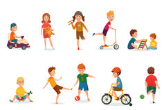 Retro Cartoon Kids Playing Icon Set. Colored and isolated retro cartoon kids playing icon set with different various entertainings vector illustration Royalty Free Stock Photo