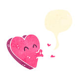 Retro cartoon kissing heart Stock Image