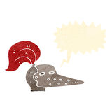 Retro cartoon knight's helmet with speech bubble Stock Photography