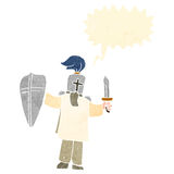 Retro cartoon knight with shield Royalty Free Stock Photo