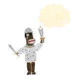 Retro cartoon knight with swords Stock Photography