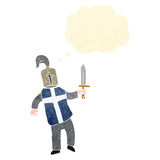 Retro cartoon knight with thought bubble Stock Photography