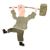 Retro cartoon laborer Royalty Free Stock Image