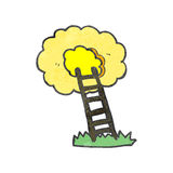 Retro cartoon ladder to heaven Royalty Free Stock Image