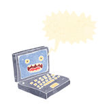 Retro cartoon laptop computer Royalty Free Stock Image