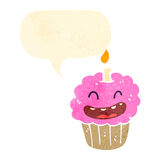 Retro cartoon laughing cupcake Royalty Free Stock Photography