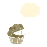 Retro cartoon laughing cupcake with thought bubble Stock Photography