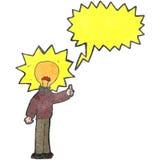 Retro cartoon light bulb head man Royalty Free Stock Image