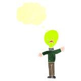 Retro cartoon light bulb head man Royalty Free Stock Photography