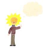 Retro cartoon light bulb idea head man Royalty Free Stock Image