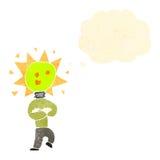 Retro cartoon light bulb idea head man Stock Image