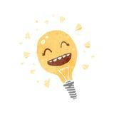 Retro cartoon light bulb symbol Stock Images