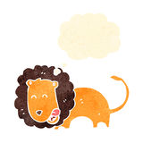 Retro cartoon lion with thought bubble Stock Image