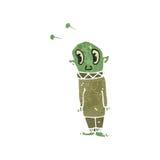 Retro cartoon little alien Stock Image