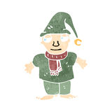 Retro cartoon little christmas elf Royalty Free Stock Photography