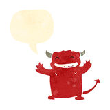 retro cartoon little devil smiling Royalty Free Stock Image