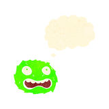 Retro cartoon little furball monster with thought bubble Stock Image