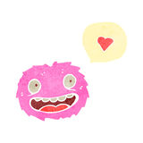 Retro cartoon little furry pink monster Royalty Free Stock Images